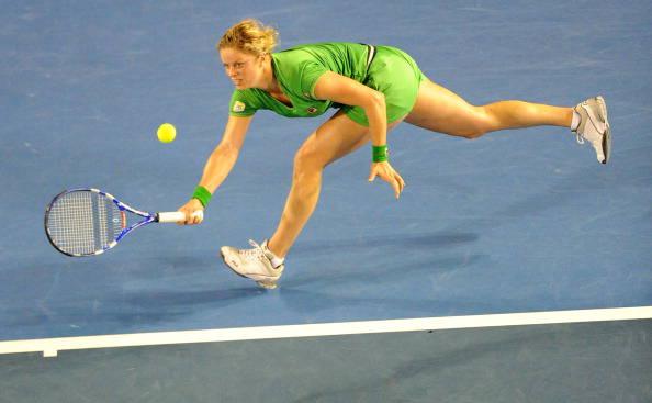 Kim Clijsters of Belgium returns against